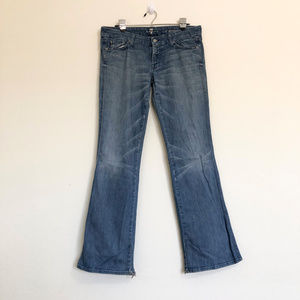 7FAM Blue Denim A Pocket Flare Jeans Size 31